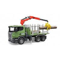 Лесовоз Scania с портативным краном и брёвнами, фото 1