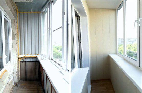 Обшивка балкона декор-панелью.