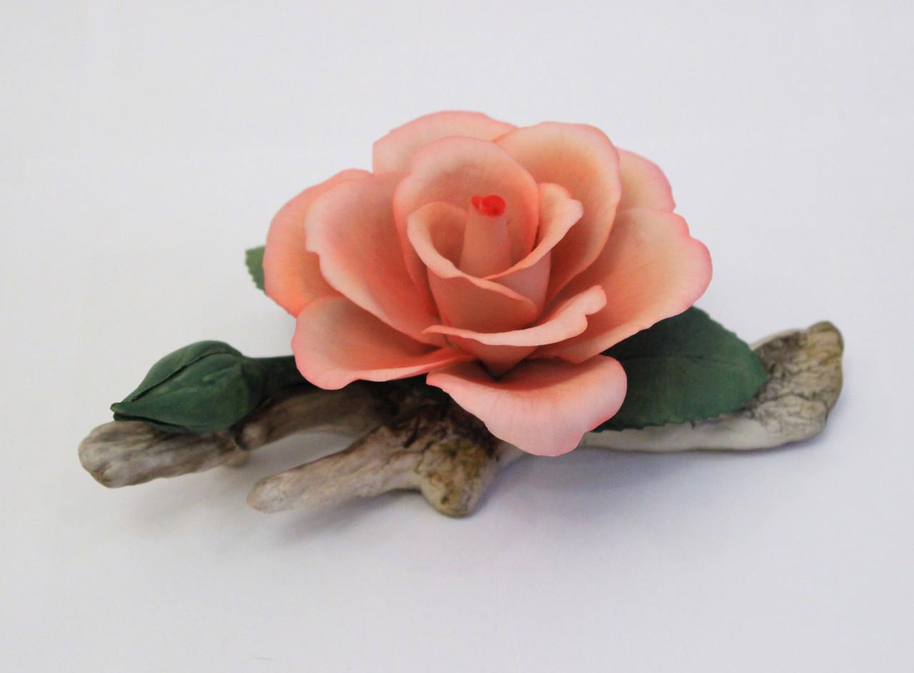 Фарфоровый цветок Роза на ветке. Италия. Ручная работа