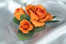 Фарфоровый цветок Роза с двумя бутанами. Италия. Ручная работа