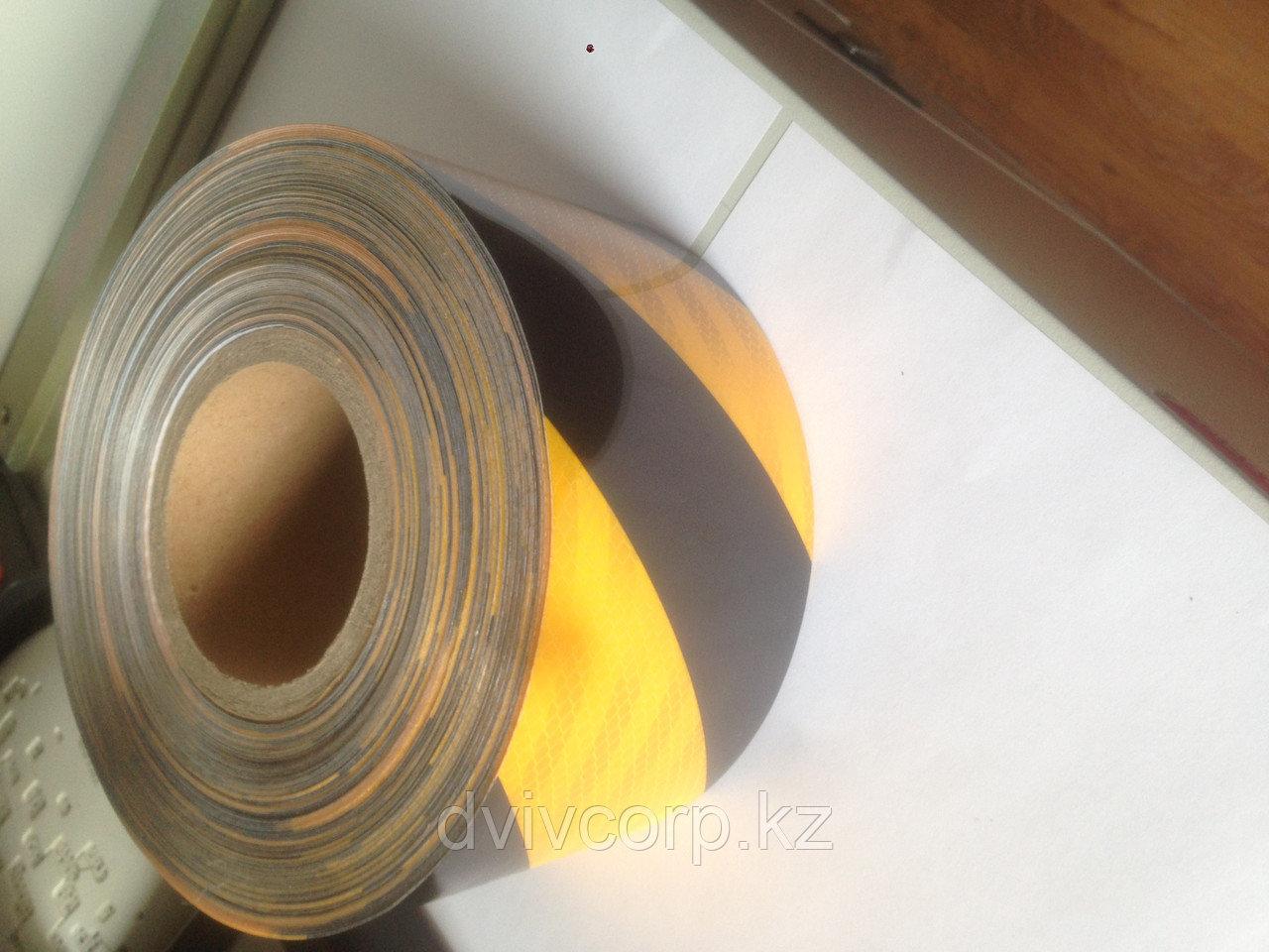 Лента световозвращающая черно-желтая 10 см (алмазная) - фото 2