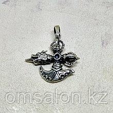 Амулет из серебра Ваджра с боевым топориком и головой дракона