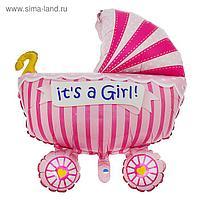 """Шар фольгированный 35"""" «Коляска детская», цвет розовый"""