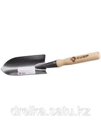 Совок посадочный ЗУБР 4-39601, садовый, классический, с деревянной ручкой , фото 2