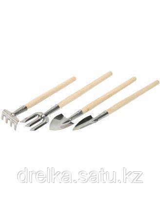 Набор садовых инструментов ЗУБР 4-39691-H4, для комнатных растений, из нержавеющей стали , 4 предмета