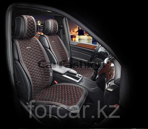 Накидки на передние сидения «CAPRI» черный/черный/красный, фото 2