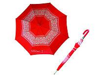 Зонт-трость красный  с узорами