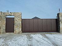 Выдвижные ворота с автоматикой и калитка
