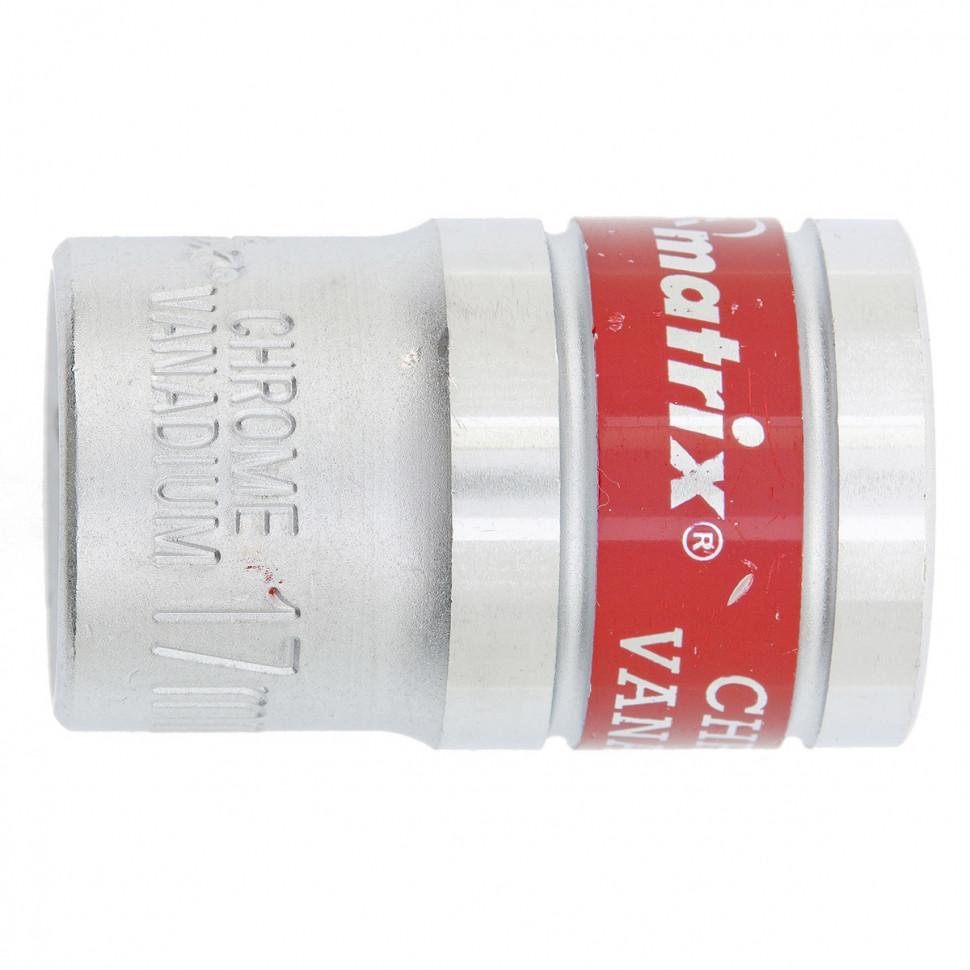 """(13117) Головка торцевая, 17 мм, 6-гранная, CrV, под квадрат 1/2"""", хромированная// MATRIX MASTER"""