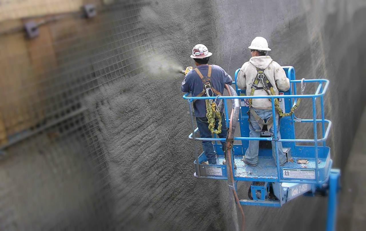 Торкретирование, (вертикальное нанесение бетона