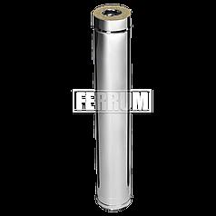 Дымоход Ferrum Сэндвич из нержавеющей стали 430/0,5 мм 1000мм, Ф120х200