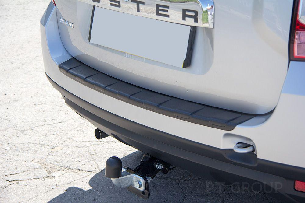 Накладка на задний бампер (чёрное тиснение) (ABS) RENAULT DUSTER 2012