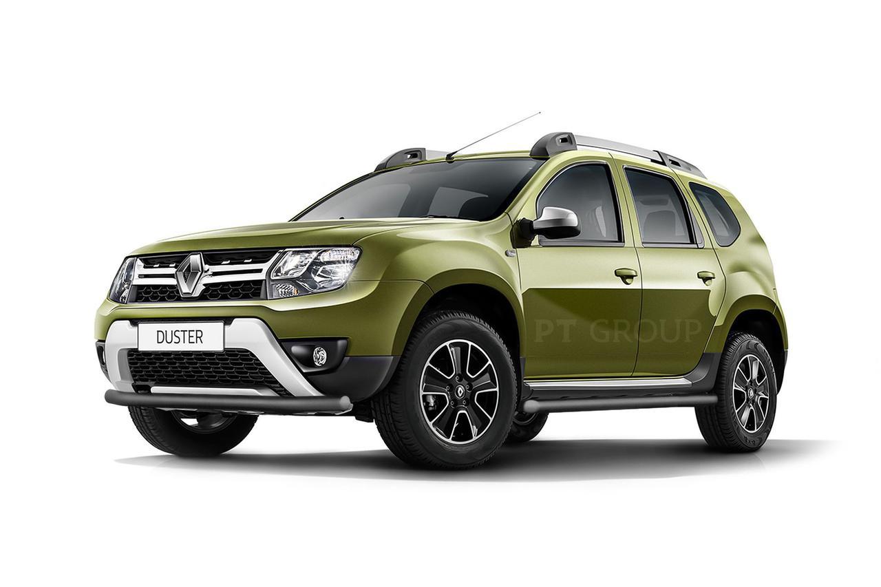 Защита порогов 63мм (Шагрень) Renault Duster