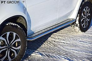 """Защита порогов с алюм. площ. """"Эстонец"""" 51мм (НПС) Renault Duster 2016"""