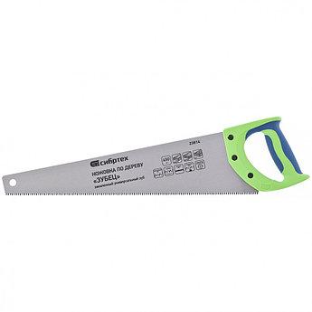 "(23814) Ножовка по дереву ""Зубец"", 450 мм, 7-8 TPI, зуб 3D, каленый зуб, 2-х компонентная рукоятка//Сибртех"