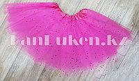 Юбка детская для танцев розовая длина 30 см