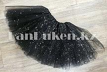 Юбка детская для танцев черная длина 30 см