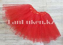 Юбка детская для танцев красная длина 30 см