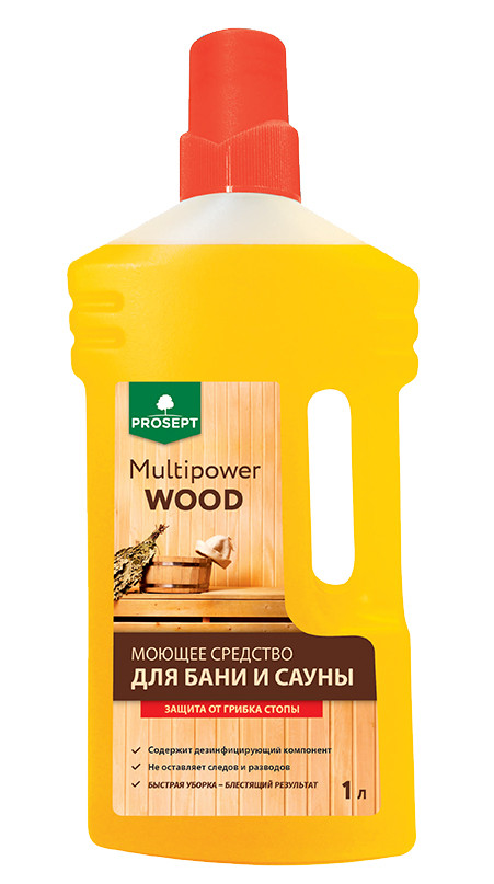 Нейтральное моющее средство с дезинфицирующим эффектом Multipower Wood  (Мультисила Вуд) концентрат  1,0 л.