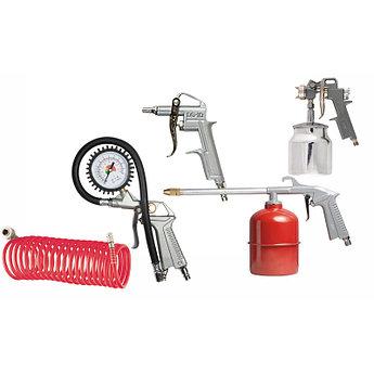 (57302) Набор пневмоинструмента, 5 предметов, быстросъемное соед., краскорасп. с нижним бачком// MATRIX