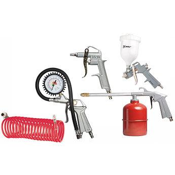 (57304) Набор пневмоинструмента, 5 предметов, быстросъемное соед., краскорасп. с верхним бачком// MATRIX