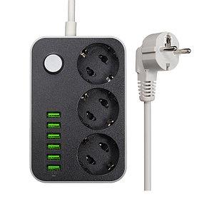 Сетевой фильтр 6*USB 3*EU розетки 220В