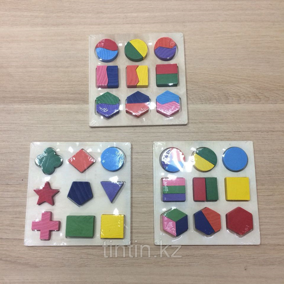 Сортер-вкладыши с геометрическими фигурками, 15х15см