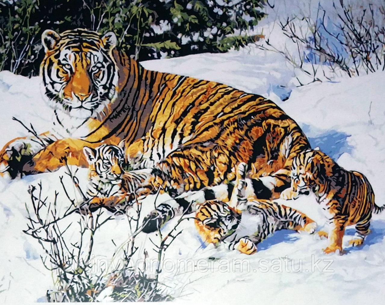 """Картина по номерам """"Тигры на снегу"""""""