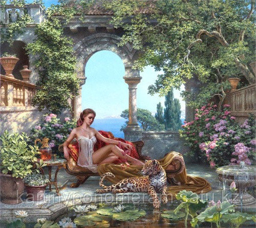 "Картина по номерам ""Девушка с леопардом. М.Сатаров"""
