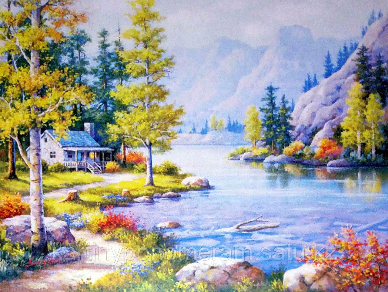 """Картина по номерам """"Березы у горной реки"""""""