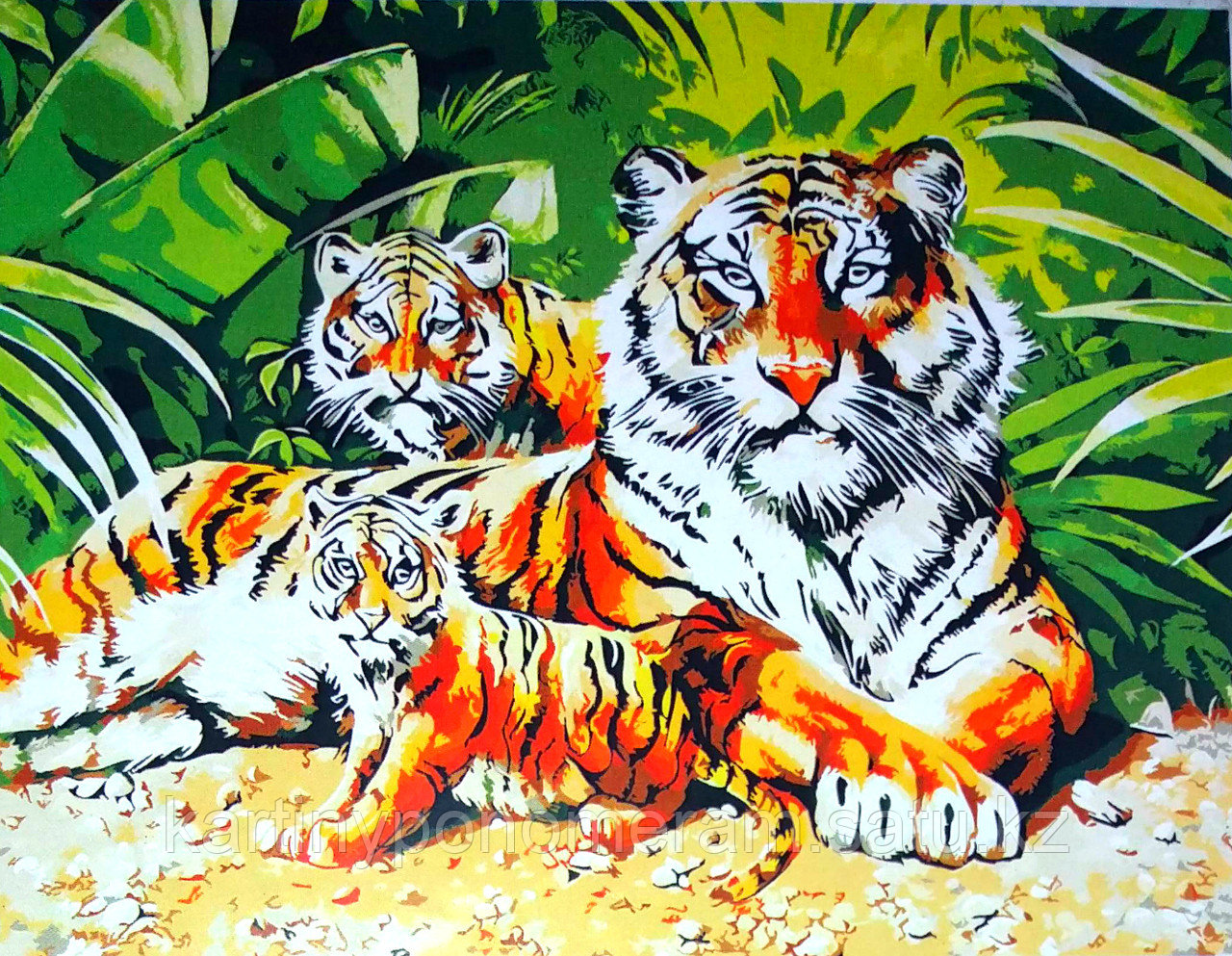 """Картина по номерам """"Тигрица с тигрятами 3"""""""