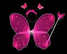 Набор феи крылья и волшебная палочка (ярко-розовый)