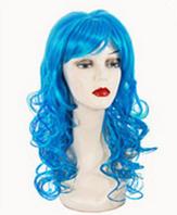 Голубой карнавальный парик с челкой 40-50 см