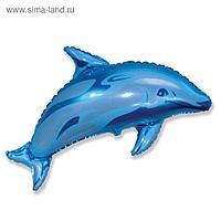"""Шар фольгированный 30"""" «Дельфин», цвет голубой"""