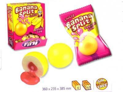 """Жев.резинка """"Банановый разрыв"""" с клубнич. наполнит. 5гр  (200шт в упаковке) FINI Испания/"""