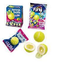 """Жев.резинка """"Теннисные мячики"""" с нач. лимон-лайм 5гр  (200шт в упаковке) /FINI Испания/"""