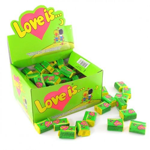 """Жев.резинка """"Love is"""" Яблоко-Лимон 4,2гр х 100шт /Турция/"""