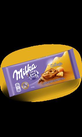 Milka Collage Caramel Fudge Chocolate (93 грамм) (15 шт. в упаковке)
