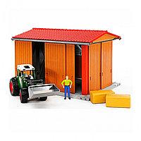 Гараж для транспорта с трактором Fendt 209 S с погрузчиком, фигуркой и аксессуарами