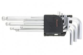 (11233) Набор ключей имбусовых HEX, 1,5–10 мм, CrV, 9 шт., удлиненные, с шаром// MATRIX