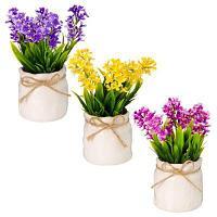 Цветы в горшке 15х6,5х6,5см, полиэстер, керамика, 3 цвета, арт.GRSH-2 501-385