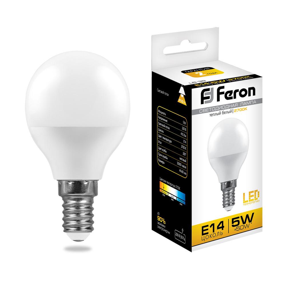 Лампа светодиодная LB-38 (5W) 230V E14 2700K G45