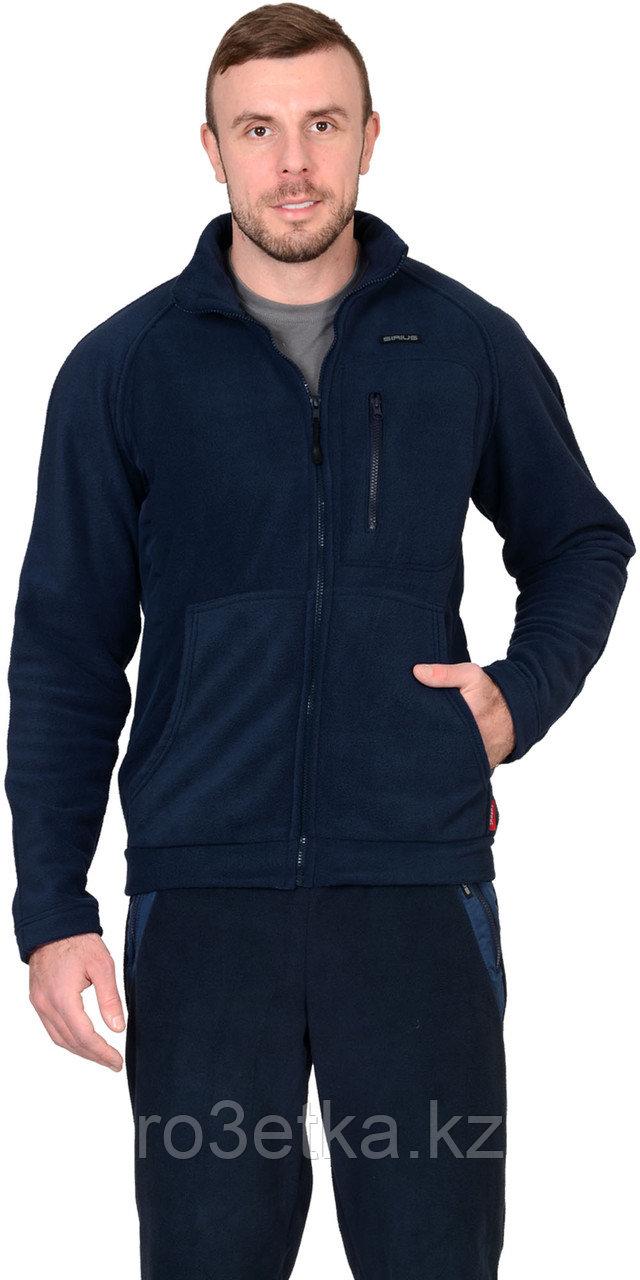 """Куртка флисовая """"Актив"""" синяя, отделка синяя"""