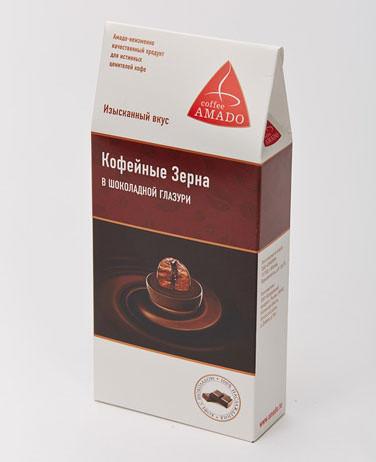 Кофейное зерно в шоколадной глазури в картонной упаковке, 100гр