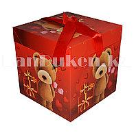 Подарочная новогодняя упаковка 15*15 см (средняя) Медвежонок