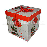 Подарочная новогодняя упаковка 15*15 см (средняя) Роза