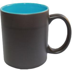 Кружка керамическая хамелеон внутри голубая