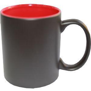 Кружка керамическая хамелеон внутри красная