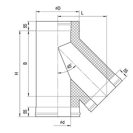 Сэндвич-тройник Ferrum 135° Ф 120х200, фото 2