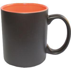 Кружка керамическая хамелеон внутри оранжевая
